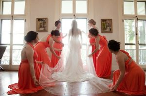 Bride and wedding party at Maison de Tours, a wedding venue near Lafayette, LA, taken in the Bridal Dressing Suite.