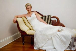 A photo of a bride at Maison de Tours bridal suite, a wedding venue near Lafayette, Louisiana.