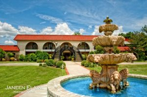 A front view of The Manor, a wedding venue near Lafayette, Louisiana.
