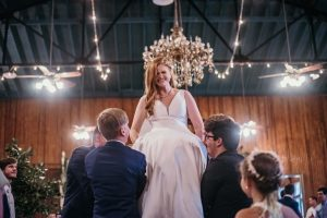 A bride at a wedding receiption located near Lafayette, Louisiana called The Madison.